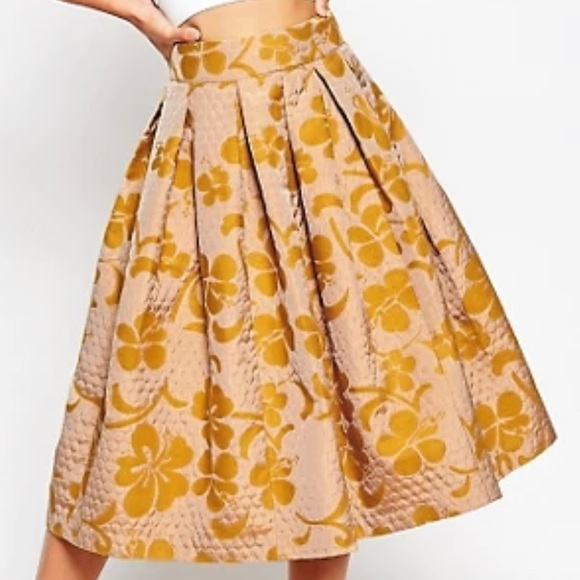ASOS quilted, full midi skirt with floral print